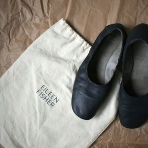 eileen fisher leather pond flats